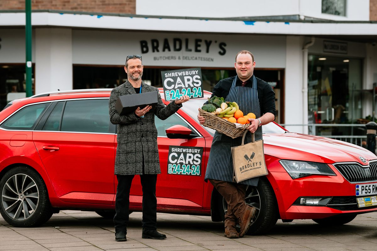 Taxi firm, Shrewsbury Cars, owner Matt Young of Shrewsbury Cars and Andy Popsys of Bradley's Butchers & Delicatessen, joining forces to get shopping to customers