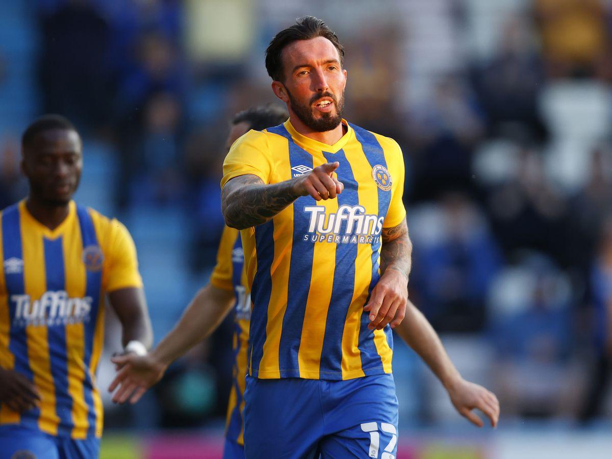 Ryan Bowman of Shrewsbury Town celebrates after scoring a goal to make it 1-2. (AMA)
