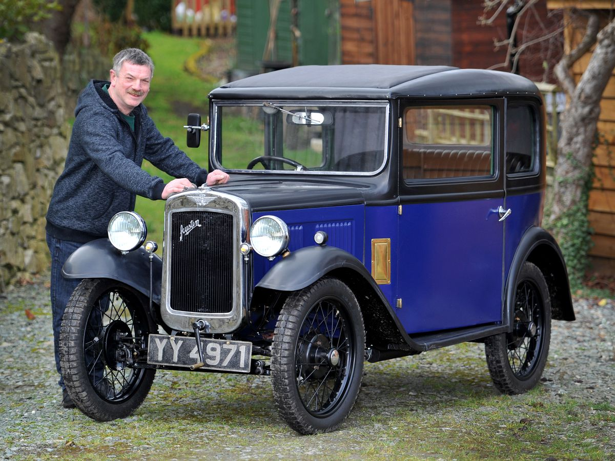 Dave with the gleaming, revamped, 1932 Austin Seven.