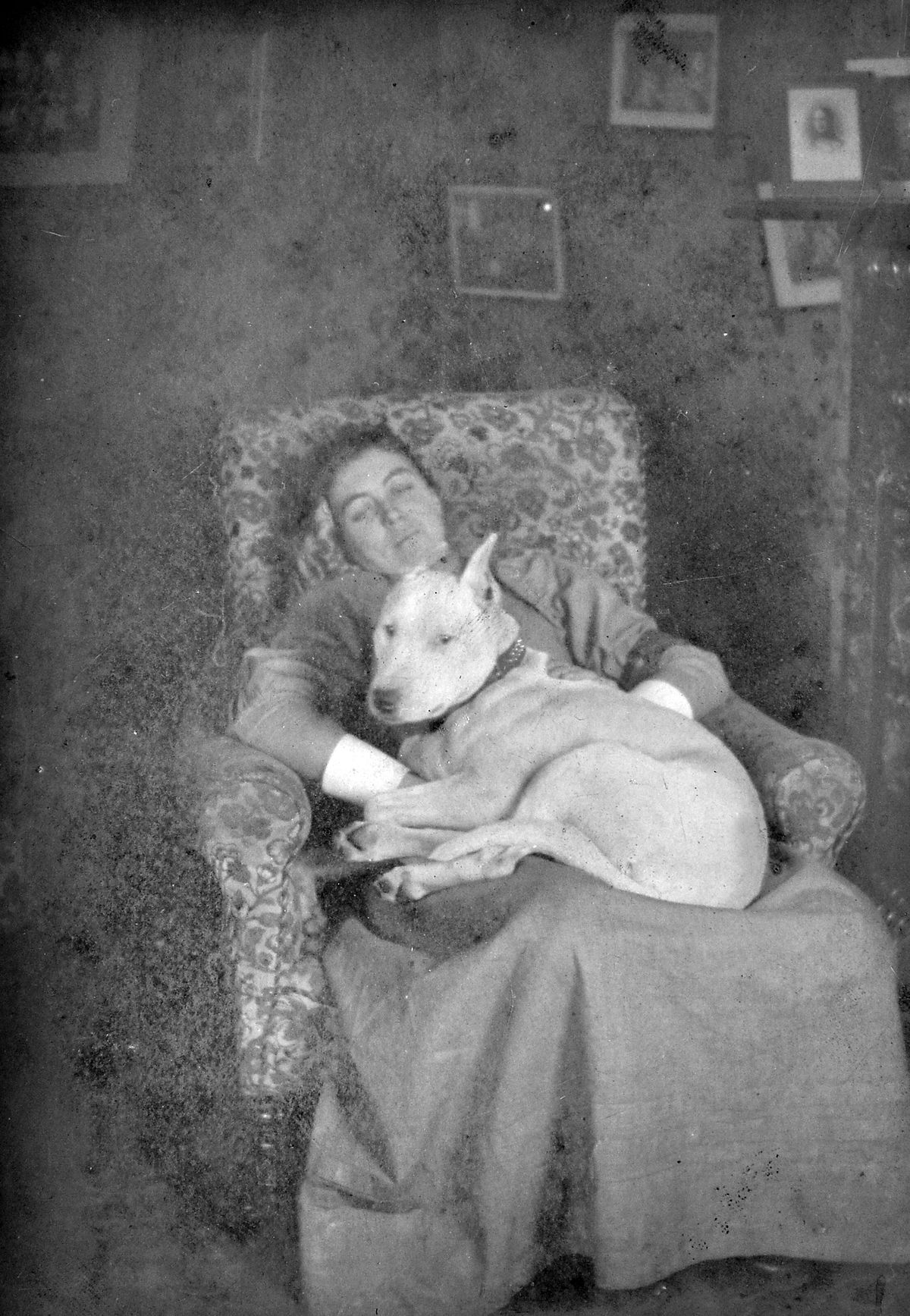 An exhausted Agnes in Rushden where she fought a typhoid outbreak in 1892, with her fearsome dog Mike on her lap.
