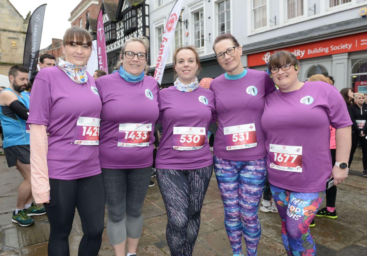 Jackie Bell, Jo Kilvinton, Nicola Jones, Karen Bill and Lisa Butler get ready for the Shrewsbury 10K
