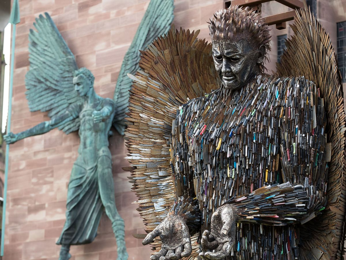The Knife Angel outside Coventry Cathedral