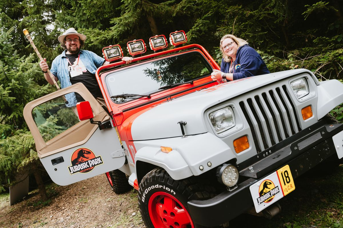 James Bailey and Vikki Renwick from the Jurassic Park Motor Pool at the Hoo Zoo and Dinosaur World event