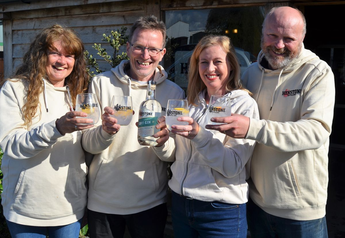 Celebrations at Henstone Distillery; from left Alex and Chris Toller with Alison and Shane Parr