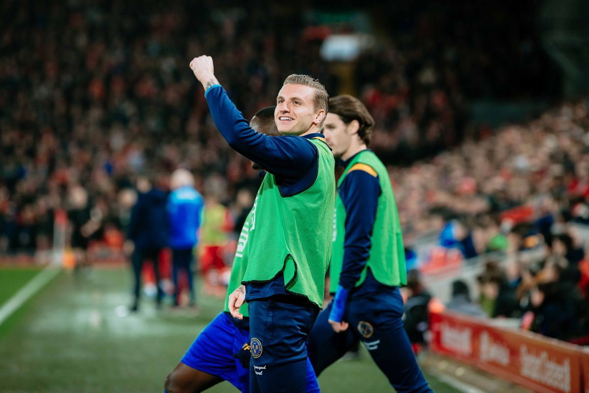 Two-goal hero Jason Cummings in front of Town's away end