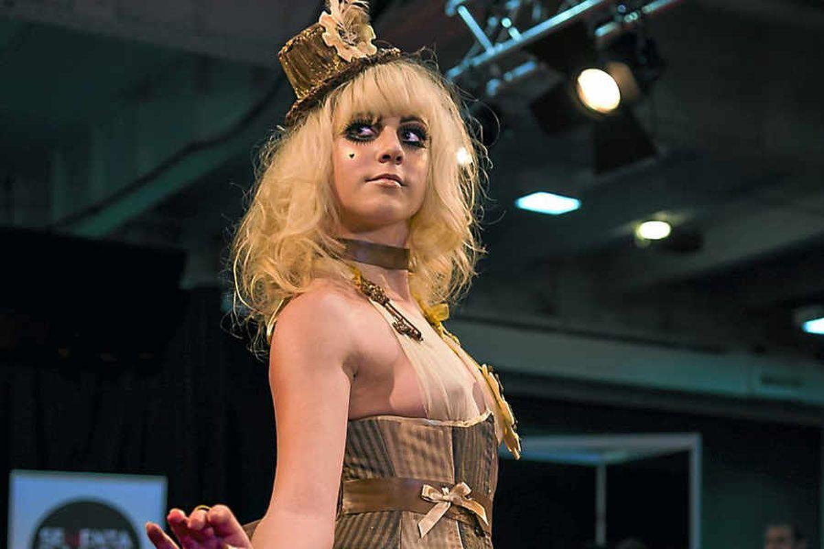 Chocolatier Julia Wenlock, from Shrewsbury, helped make the dress. Photo: Paul Winch-Furness.
