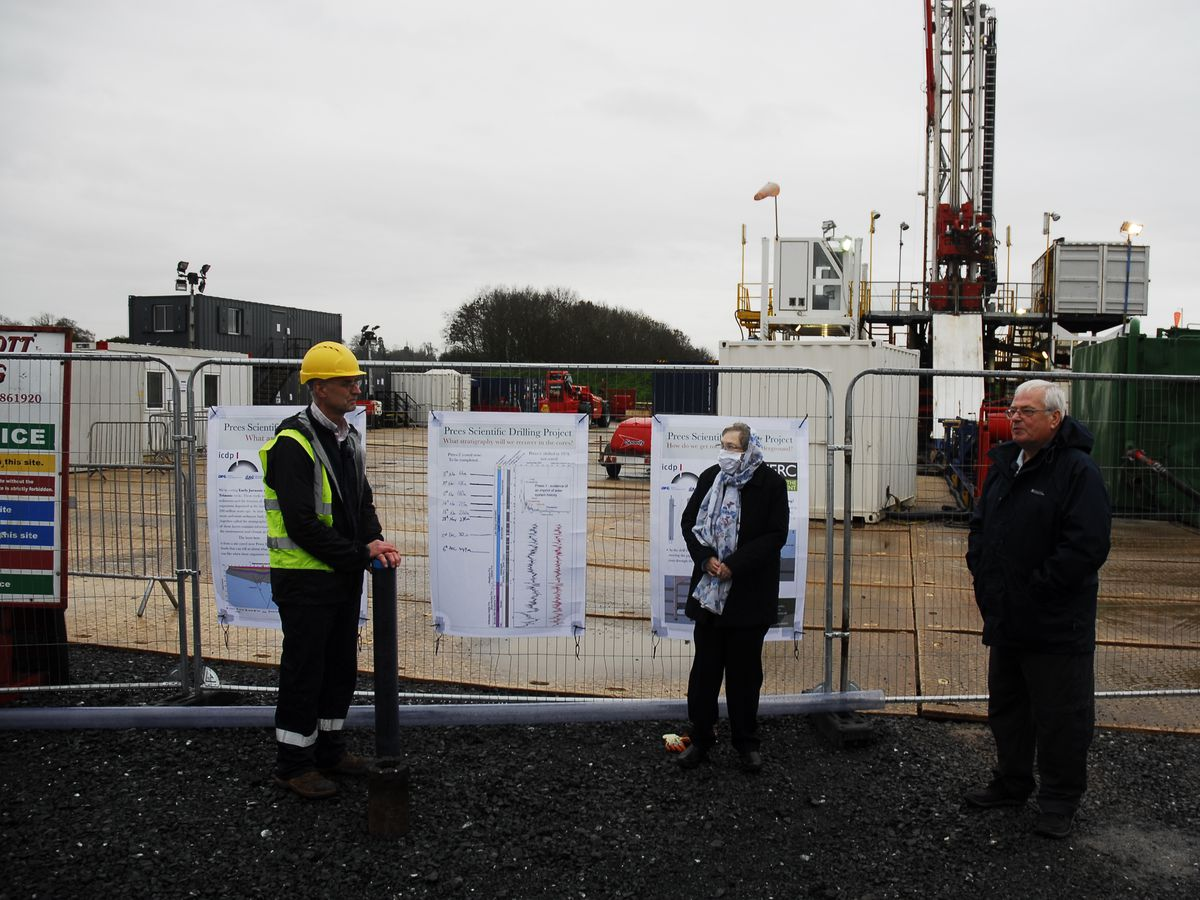 (L to R) Geologist, Stephen Hesselbo from Exeter University with Councillor Diana Foster and Chair of the Parish Council, Councillor Ray Hirons at the site of the Jet Project at Platt Farm.