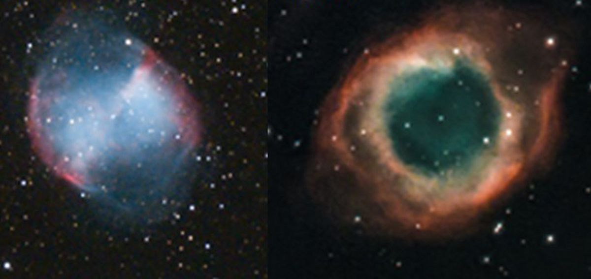 The Dumbbell nebula, left, and the Helix nebula, right, as pictured by Shropshire astronomer Andy Gannon.