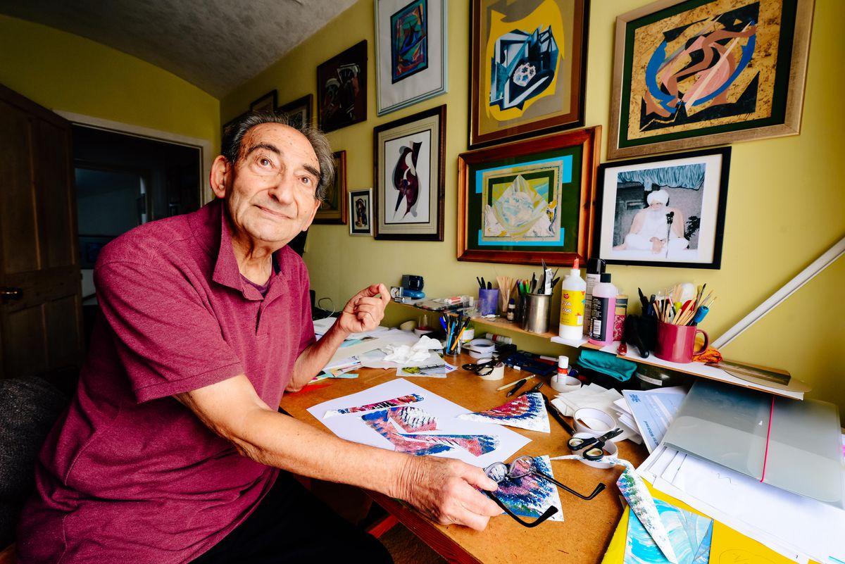 Malcolm Tillis, 90, in the studio at his home in Shrewsbury