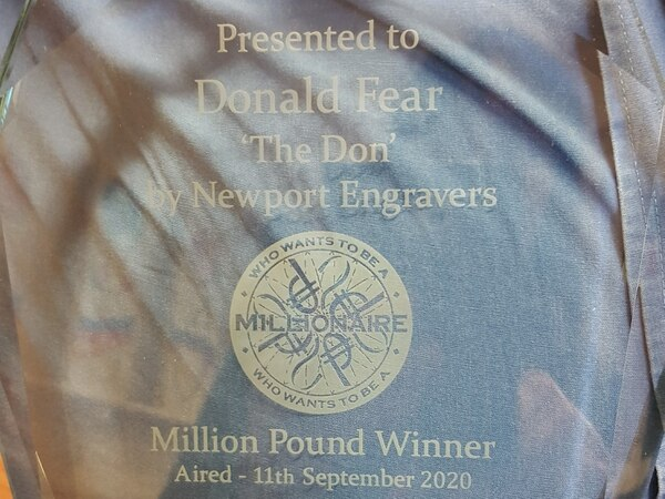 Telford's Millionaire winner Don given unique trophy to celebrate his quiz win