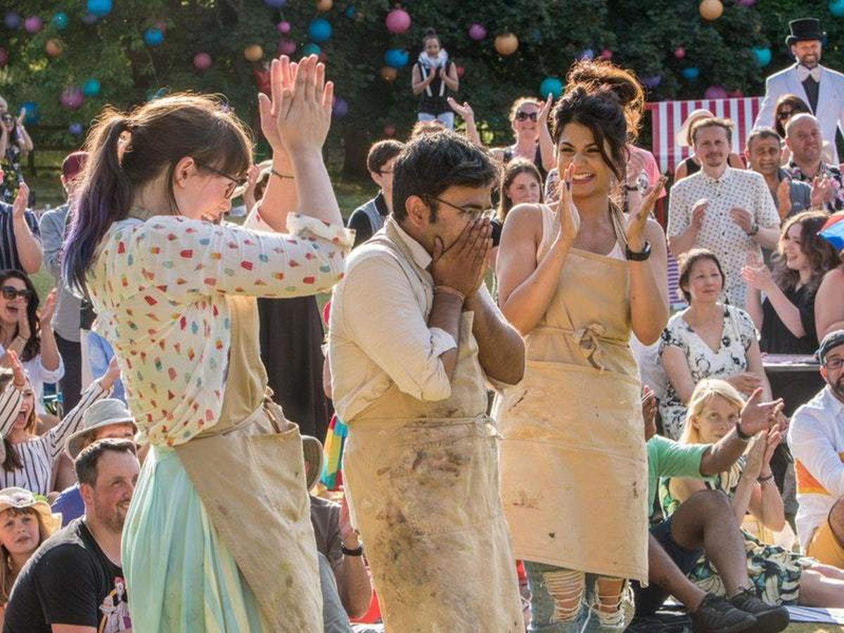 Kim-Joy and Ruby as they celebrate Rahul winning The Great British Bake Off
