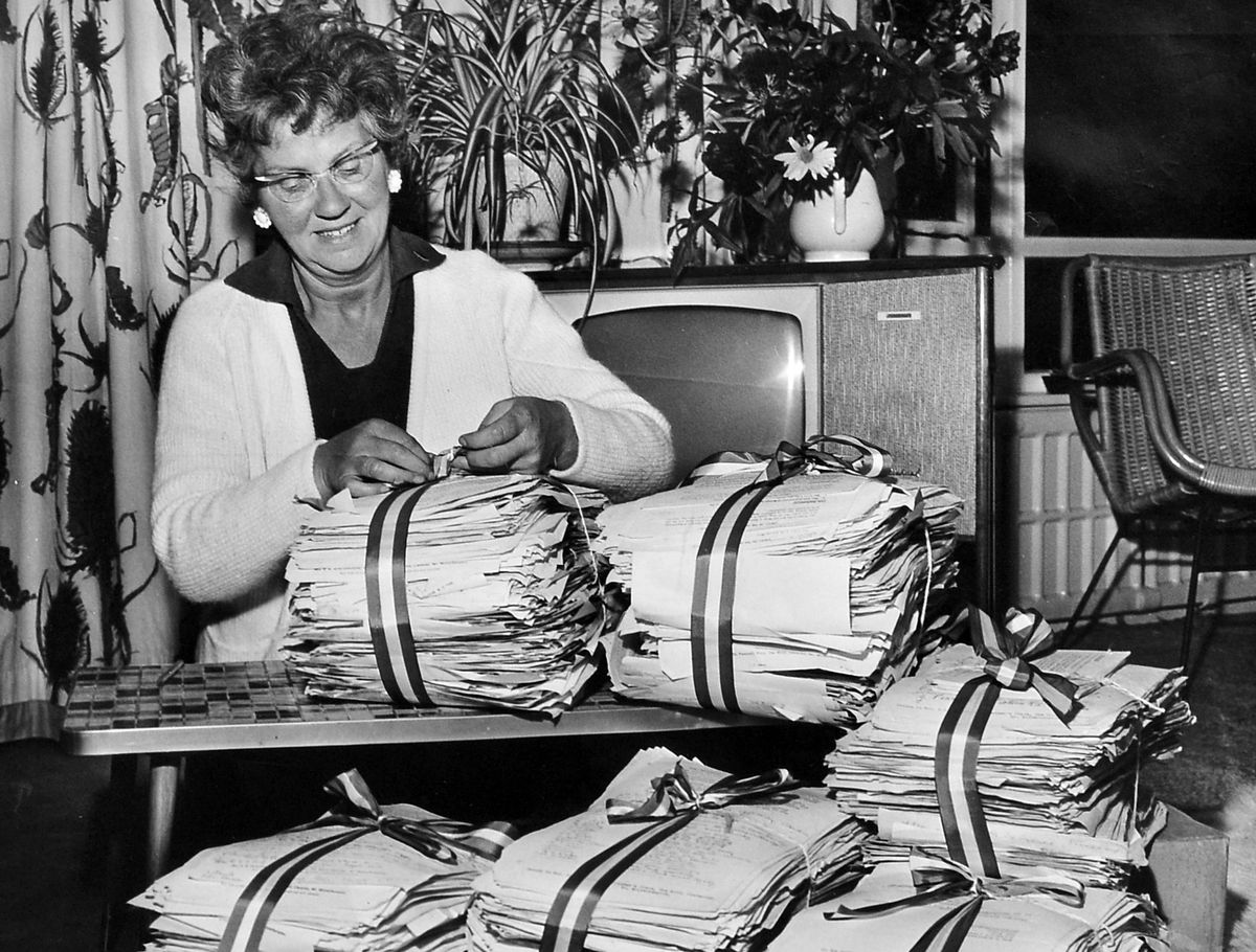 """Mary Whitehouse at her Claverley home with the petition calling for a """"clean up"""" of television."""