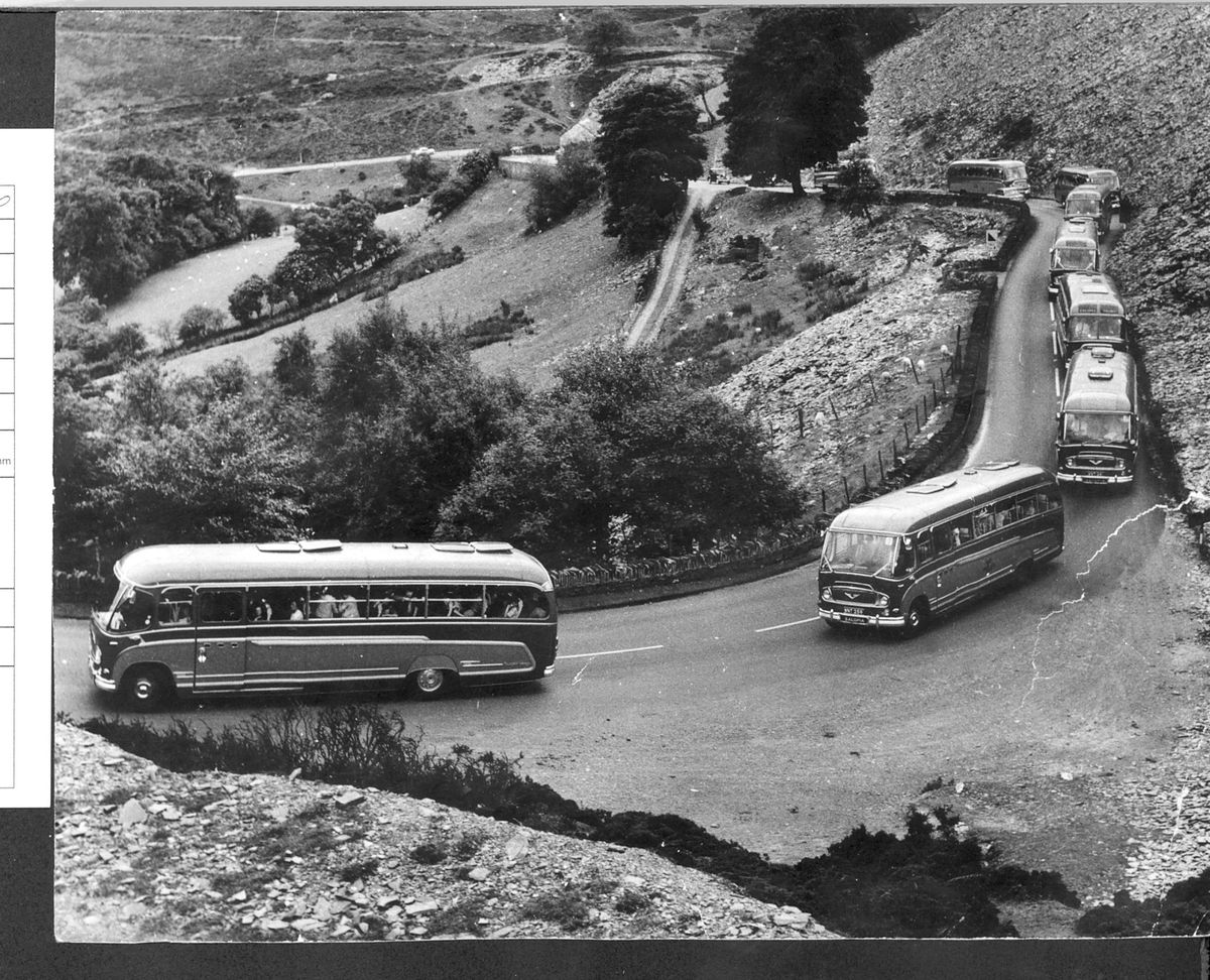 Visitors to the Horseshoe Pass by the busload. This fleet of Salopia coaches were on an outing which took them through the Horseshoe Pass, near Llangollen, in the late 1950s or early 1960s. At the wheel of one of the coaches was Victor Ruff, of Monkmoor, Shrewsbury, who worked as a driver for many years – the photo was found in his belongings when he died.