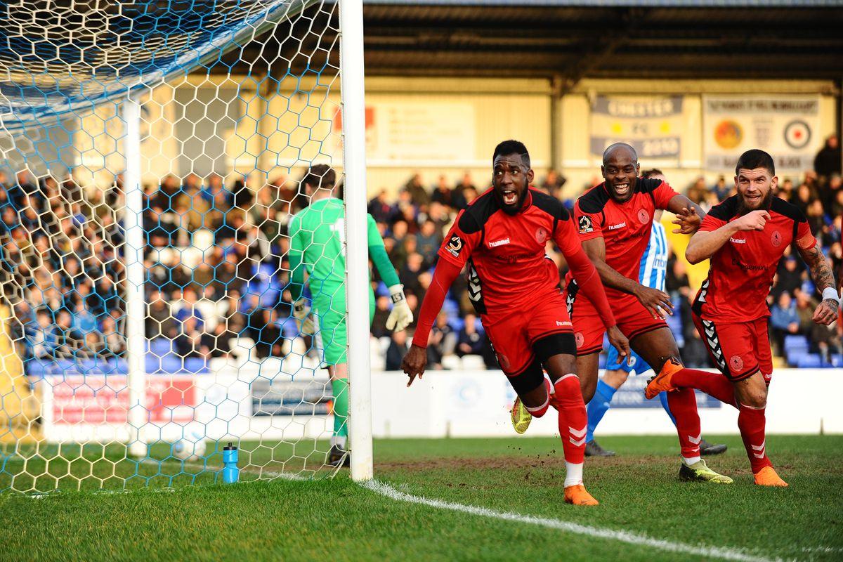 Amari Morgan-Smith of AFC Telford scores to make it 1-0.