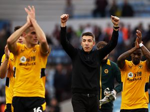 BIRMINGHAM, ENGLAND - OCTOBER 16: Bruno Lage, Manager of Wolverhampton Wanderers celebrates victory following the Premier League match between Aston Villa and Wolverhampton Wanderers at Villa Park on October 16, 2021 in Birmingham, England. (Photo by Jack Thomas - WWFC/Wolves via Getty Images).