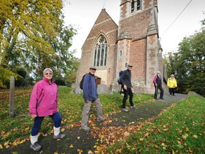 Walking the equivalent of Yockleton to Bethleham are, from left, Christine Jones, Richard Jones, Reverend David Moss, Janet Gunn and Sheila Crowther, at Holy Trinity Church, Yockleton