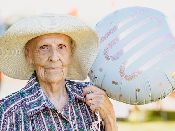 Margaret 'Peggy' Newnes celebrating her 100th birthday