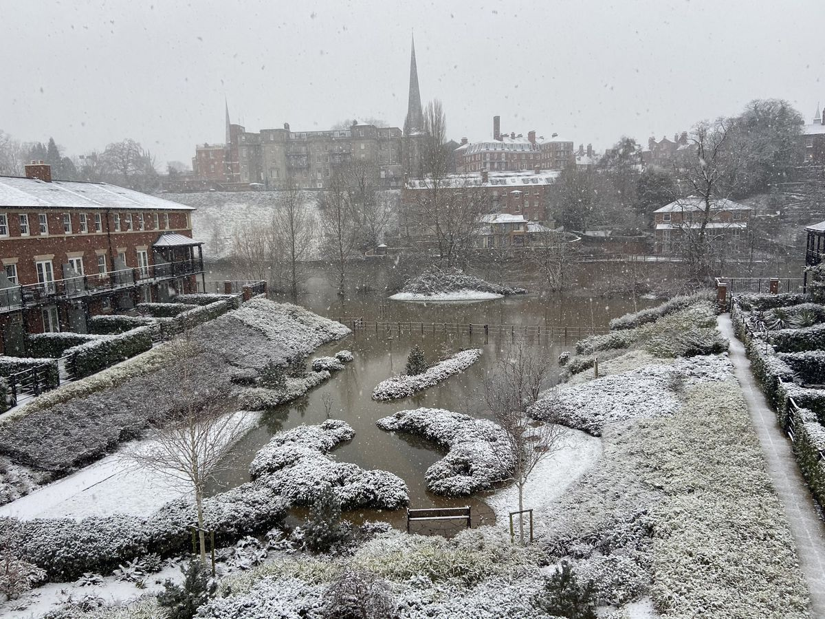 Snow at the Old Meadow next to the River Severn in Shrewsbury. Photo: Angelina Burgess