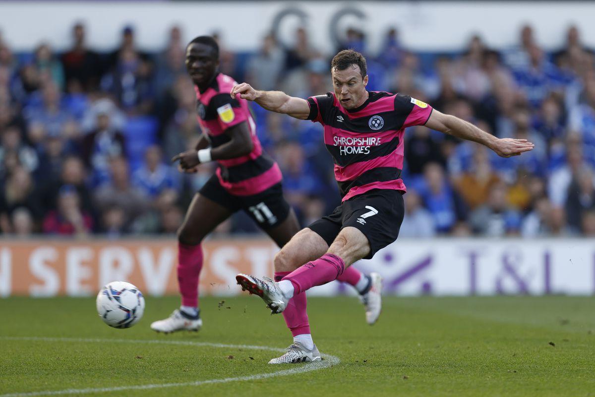 Shaun Whalley of Shrewsbury Town scores a goal to make it 1-1. (AMA)