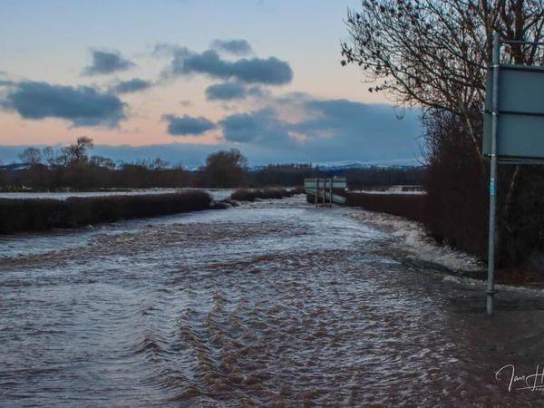 Flooding in Bangor-on-Dee where homes were evacuated. Pic: Ian Humphreys