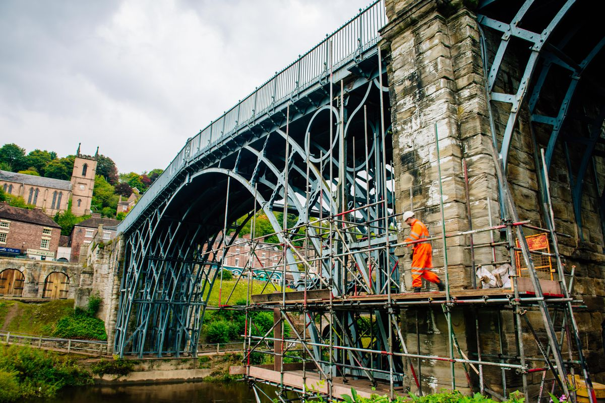 Scaffolding going up at the Iron Bridge