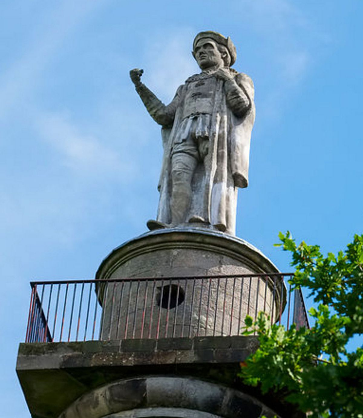 The statue of Rowland Hill, the first Protestant Lord Mayor of London, on top of the Monument at Hawkstone Park.