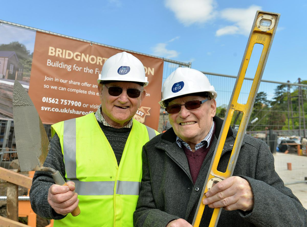 Barry Cook,centre right on his way to lay a brick for the new building at Bridgnorth Severn Valley Railway Station