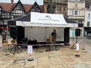 Tiny Towers performing in The Square, Shrewsbury