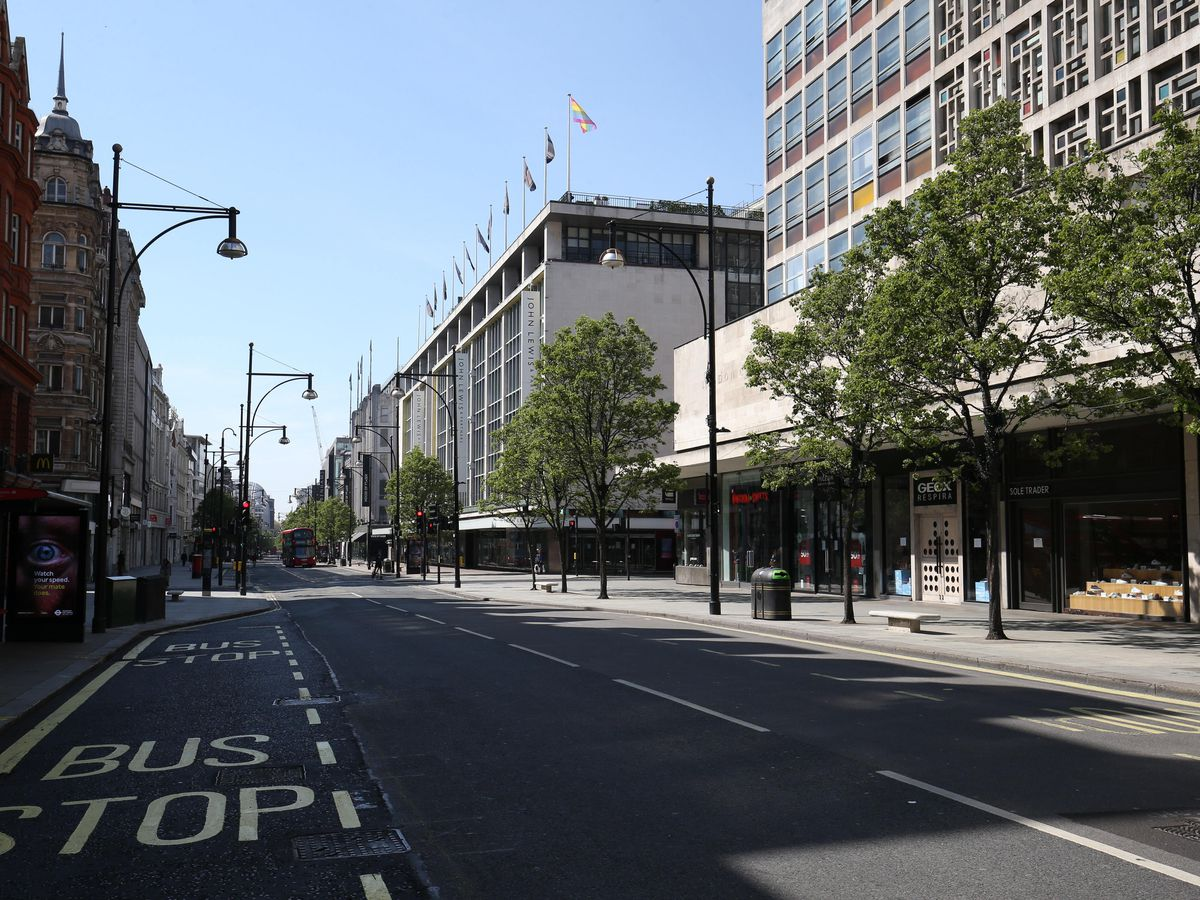A view along Oxford Street, London, looking from Oxford Circus towards John Lewis