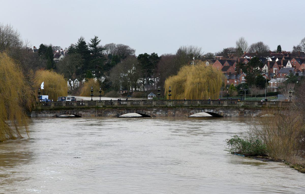 Flooding at Welsh Bridge, Shrewsbury, on Monday afternoon. Photo: Russell Davies
