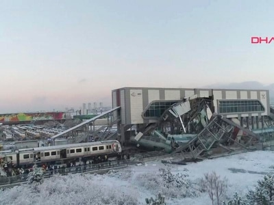 Seven killed as train crashes into overpass in Turkish capital