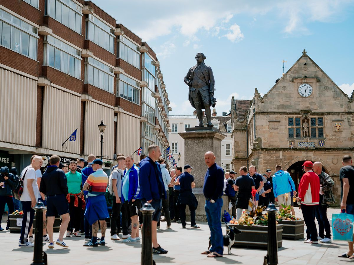 People gathering at the Robert Clive statue in Shrewsbury's Square last weekend