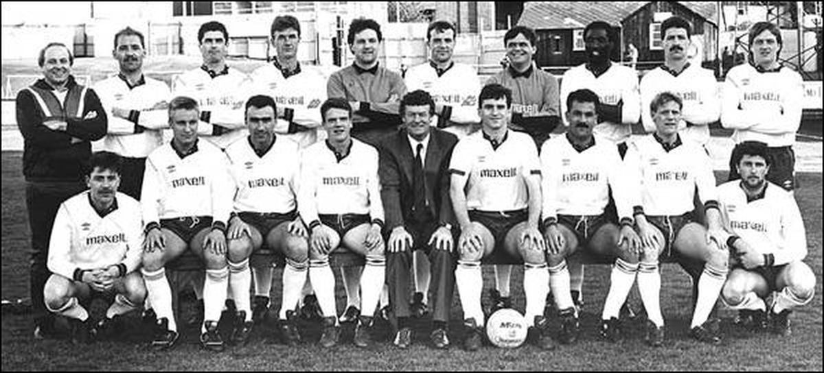 All pictures on this page have been kindly supplied by the Shropshire Star     Squad photo 1988  Back (L-R): Lenny Lloyd, Harry Wiggins, Ian Crawley, Trevor Storton, Mark Harrison, Chris Brindley, Kevin Charlton, Steve Nelson, Mark Hancock, Tommy Lloyd Front (L-R): John McGinty, Paul Grainger, Tony Griffiths, Paul Nelson, Stan Storton, Andy Lee, Antone Joseph, Iain Sankey, John Stringer