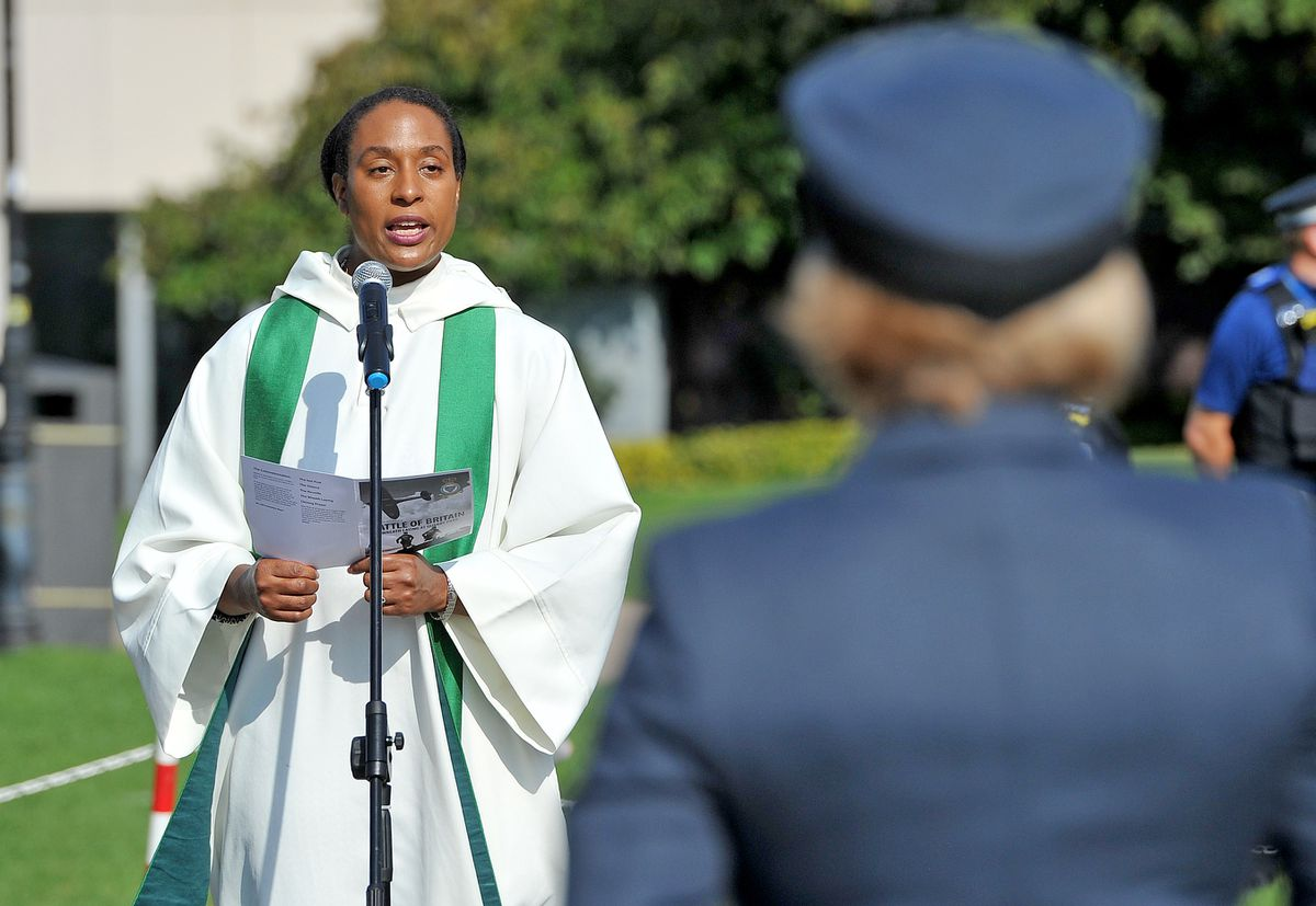 Reverend Mother Yejide Peters speaks at the Battle of Britain ceremony