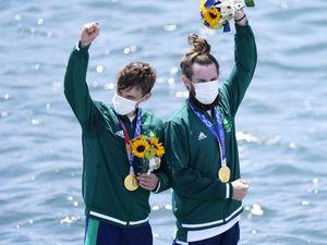 Ireland's Fintan McCarthy and Paul O'Donovan on the podium in Tokyo