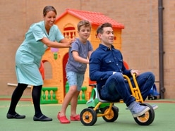 Lee Nelson actor brings smiles to Princess Royal children's ward in Telford – with video