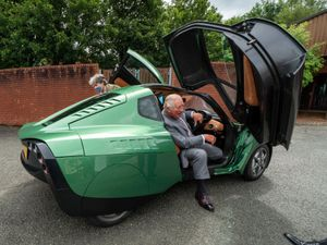 Charles in the hydrogen-powered car