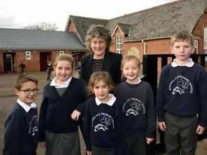 Headteacher Nicola Brayford pictured with children at Whixall Primary School