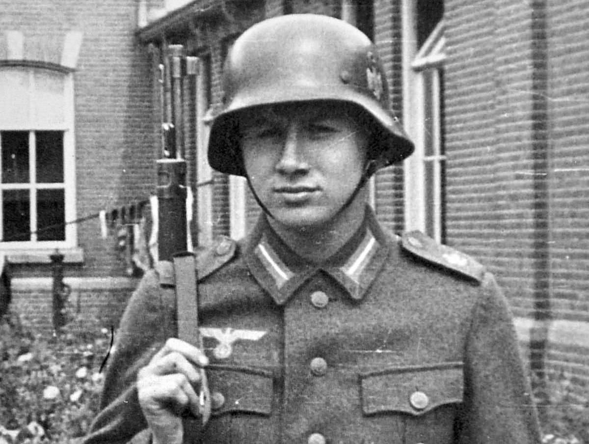 """""""Dieter"""" training in Holland in 1942. As a prisoner he was forced to do bomb disposal work at Huyton, near Liverpool. He married an English girl and moved to Shropshire."""
