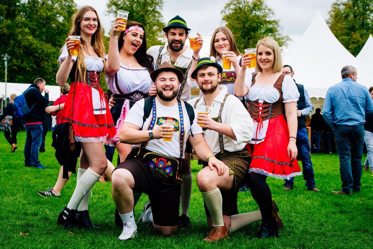 A group of friends enjoying a previous Shropshire Oktoberfest