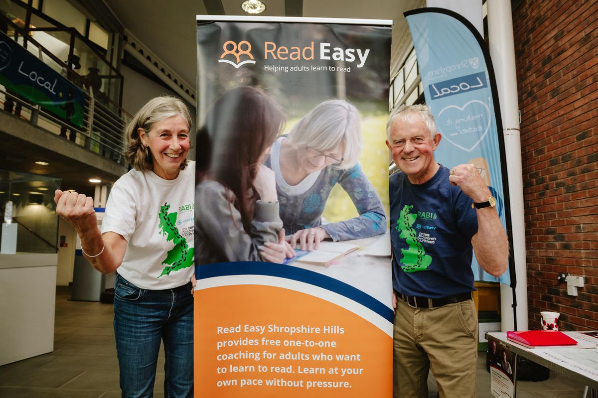Steve and Juliet Gibbon raised £3525 for three charities including Read Easy Shropshire Hills