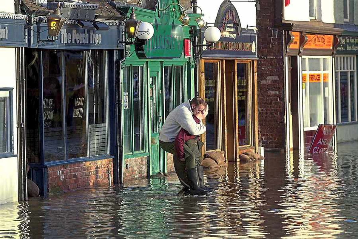 A flooded Shrewsbury in 2000