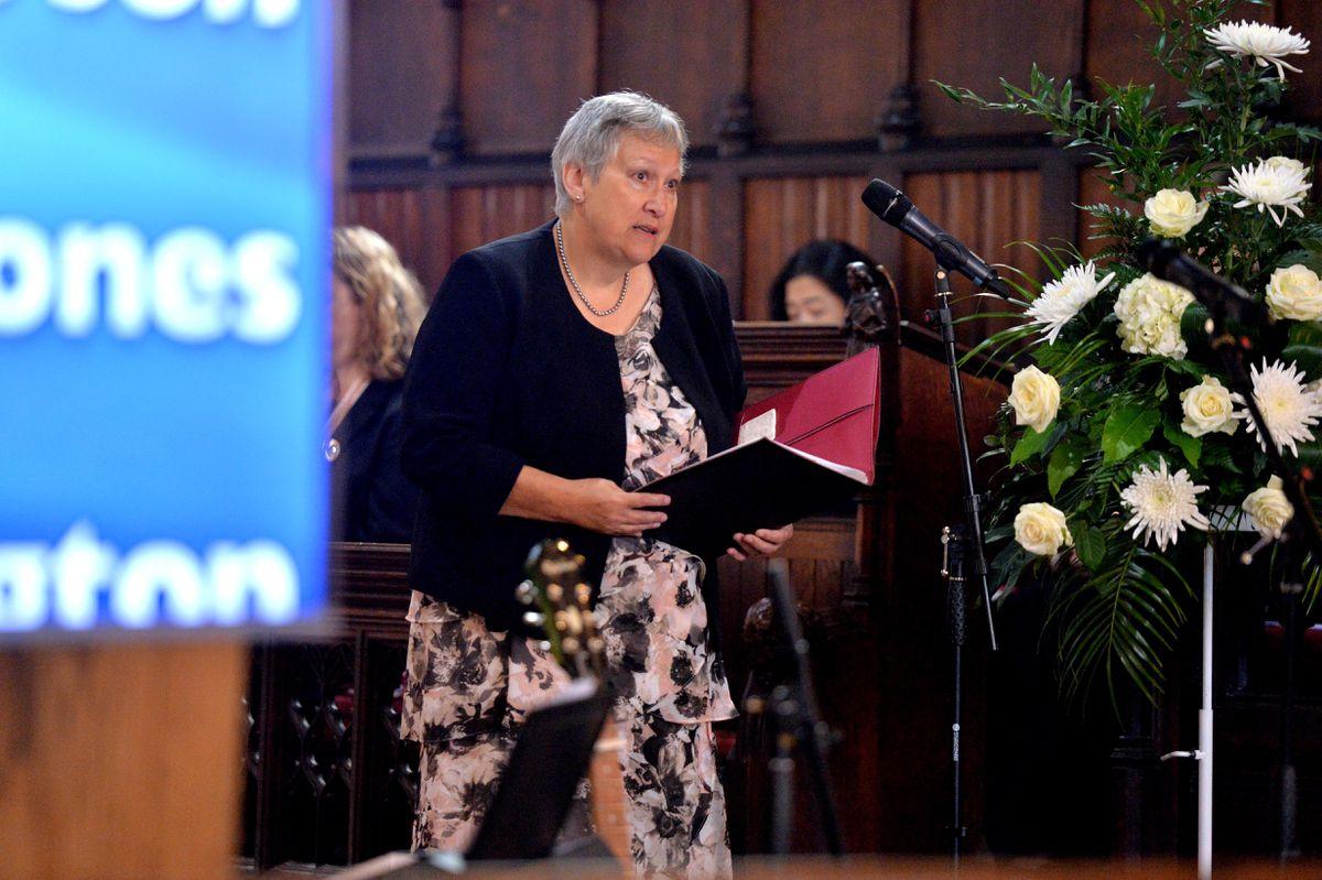 Civil celebrant Jenny Good speaking during the service
