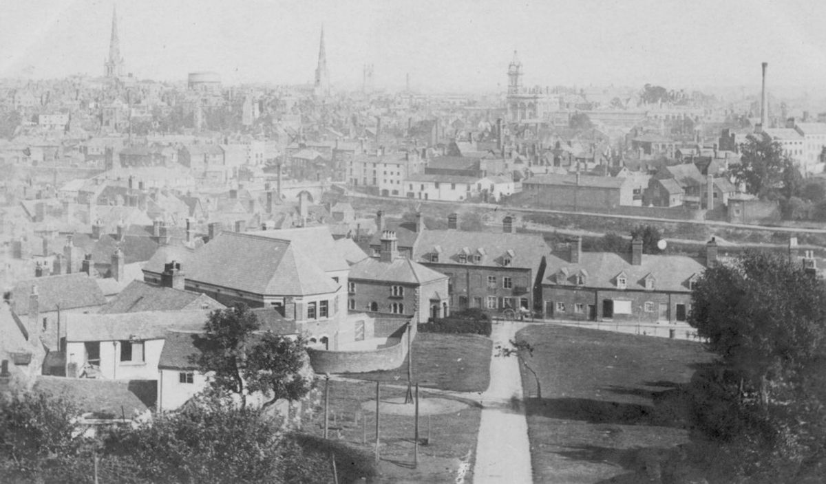 See if you can pick out some of Shrewsbury's landmarks in this very old view over the town. We don't know exactly how old, but it was in the days of horse and carts, as one can be seen. Late Victorian perhaps? The picture comes from Ray Farlow of Bridgnorth.