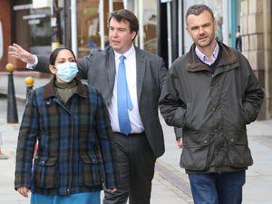 Home Secretary Priti Patel in Welshpool with Craig Williams MP and Jon Burns