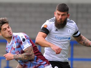 TELFORD COPYRIGHT MIKE SHERIDAN Shane Sutton battles for a header during the Vanarama Conference North fixture between AFC Telford United and Gateshead at the New Bucks head on Saturday, October 17, 2020...Picture credit: Mike Sheridan/Ultrapress..MS202021-033.