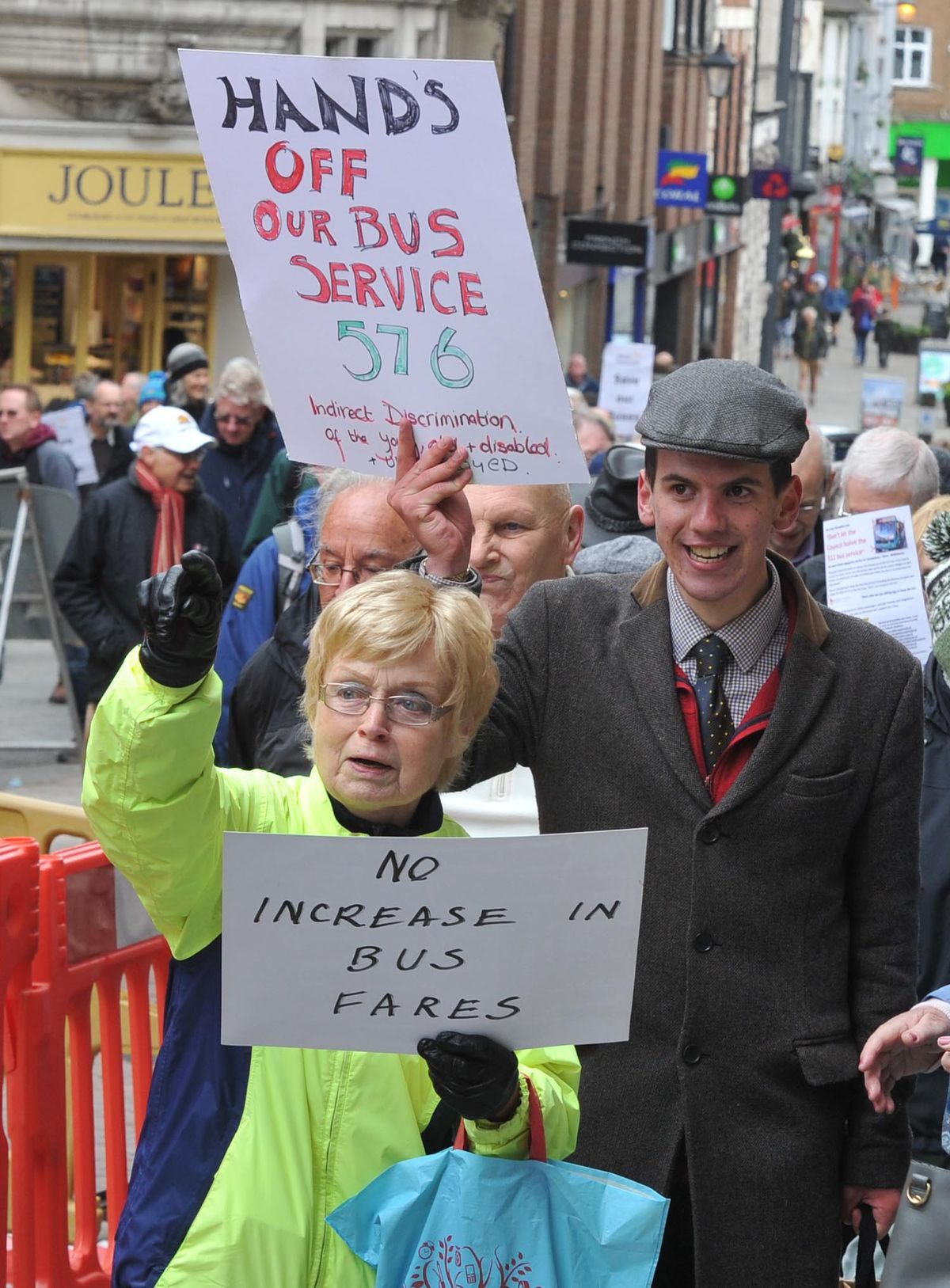 A protest march makes its way from the Square in Shrewsbury to the bus station