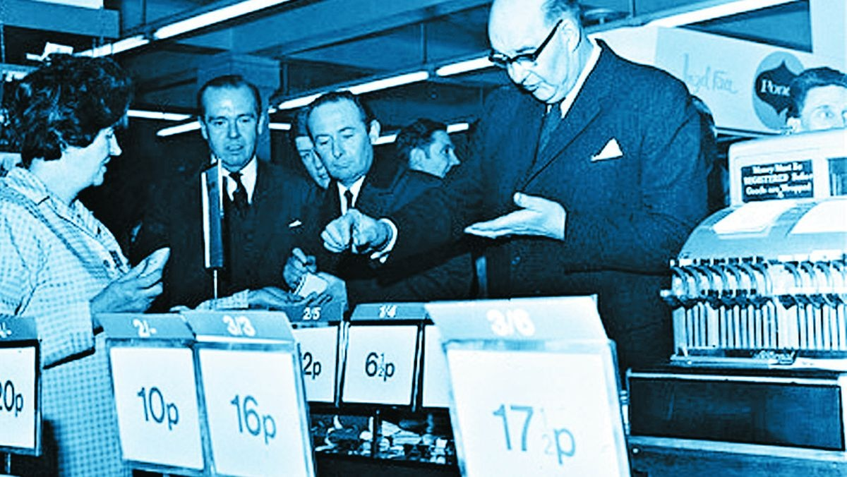 Lord Fiske, chairman of the Decimal Currency Board, shopping at Woolworths, London