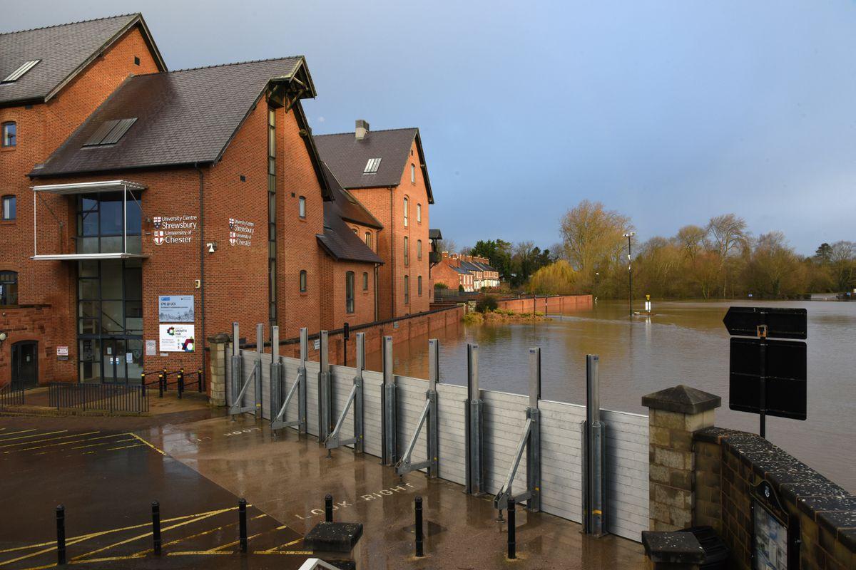 Shrewsbury flooding: Flood defence barriers at Frankwell Shrewsbury. Pic: Russell Davies