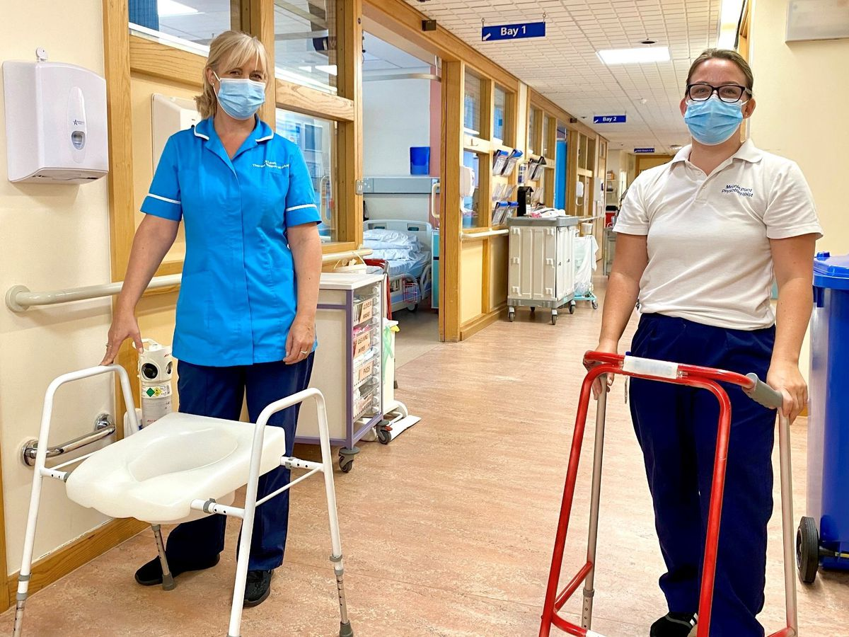 Therapy Support Worker Jo Lewis and Physiotherapist Melanie Plant with the physiotherapy equipment that the team are appealing for